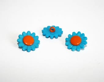 2 turquoise and orange Daisy flower buttons, set of 2 buttons, shank button