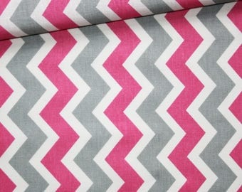 Chevron, 100% cotton fabric printed 50 x 160 cm, zigzag, pink, grey and white chevron pattern