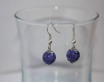 Earrings purple marbled