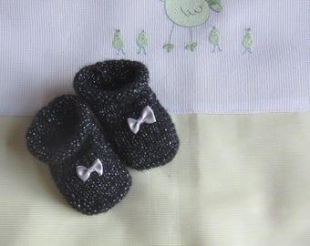"Baby size ""birth"" glitter black - handmade knitting"
