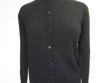 M L 60s Sweater Classic Black Crew Neck Button Front Long Sleeves Wool by Robinsons 38 British Hong Kong Medium Large