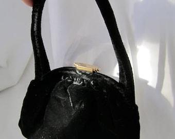 30s 40s Black Velvet Purse Handbag Art Deco Gold Clasp by Spot Light L&M