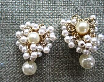 50s 60s Pearl Faux Clip Back Earrings Vintage Button Dangle Drop Style White
