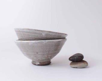 Hakame White Bowl - Stoneware Dish - Ceramic Tea Bowl- Korean Style Handmade Wheel Thrown Pottery 29-30