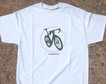 Ride the Bike road bike edition, design made with vinyl in 100% cotton t-shirt / S M L - Man / Woman V-neck  / Message me for custom text