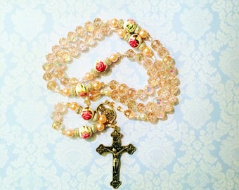 Price reduced! Catholic Rosary, pink rosary, rosaries, glass rosaries, rosary, FAST SHIPPING, gift