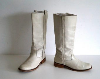 V&D boots EU38 UK 5 US 7,5 White knee high boots Genuine leather womens girls boots  Low heel casual boots Riding boots Womens leather boots
