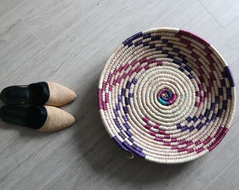 Vintage Moroccan Bowl / Moroccan Basket / Handwoven Basket