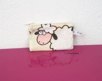 coin purse with white sheep
