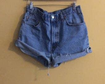 Light blue high waist shorts