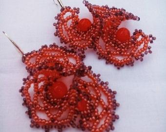 Red earrings/Birthday Gift/for/Her/Boho Earrings/For mother/Gift for women beaded earrings/Multi strand earrings