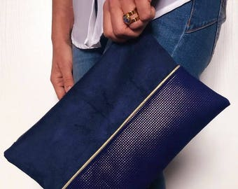 Royal Blue and Navy leather and suede pouch