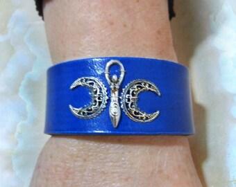 Triple Goddess Leather Cuff, Blue Leather Bracelet, Purple Leather, Spiral Goddess Cuff, Choose Color