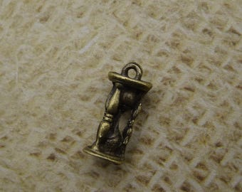 5 hourglasses charms antique bronze steampunk 16mm