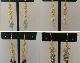 Beautiful Handmade Crystal Gold Drop Earrings
