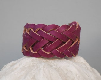 Braided leather Cuff Bracelet Pink Pearl