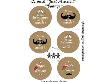 "Pack of 6 badges ""Just Married"" wedding"