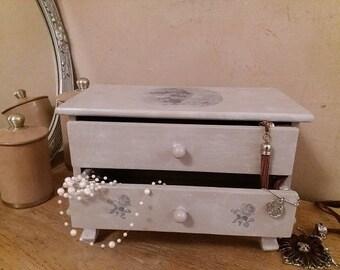 "Mini Dresser patina ""Rosewood"" - jewelry - wooden casket box"