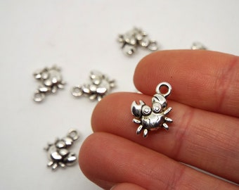 Crab Charm Silver Coloured,  12 x 13mm Double Sided.