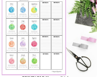 Horoscope Stickers Printable | DIY Sticker Sheet | Printable Birthday Stickers | Astrology Stickers | Happy Planner Weekly Stickers