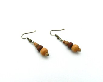 Earrings, bronze, brown, beads, wood, ethnic, hippy