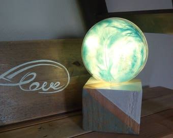 Light globe for Baby and Little Boy with blue turquoise feathers