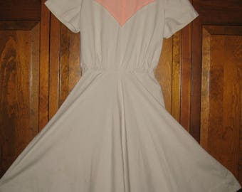 Vintage Surrey Classic Gray and Peach Cotton Dress