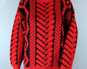 Vintage 80's Sweater, hipster sweater, red and black, cosby sweater
