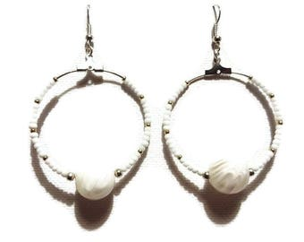 Earrings white glass and seed beads