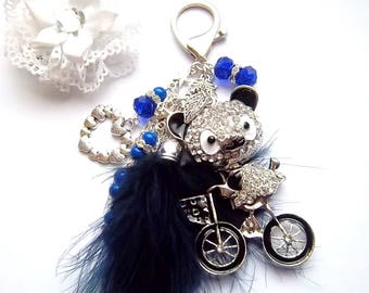 Bag charm, bike, Navy Blue mohair Pompom bear, glass, heart, leaf beads