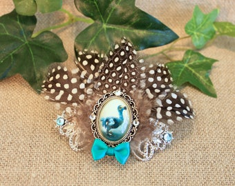 "Hair clip ""The Dodo from Alice in Wonderland"" silver metal, Steampunk, Retro, Vintage."