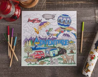 Adventure Colouring Page