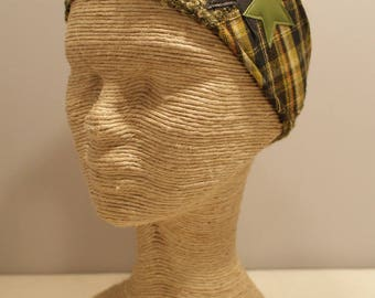 Jersey headband and green fabric