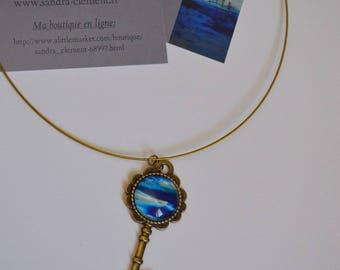 Necklace and key holder unique 20mm cabochon pendant