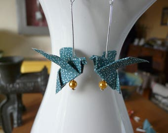 Origami doves paper blue polka dots earrings