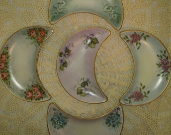 Vintage Hand Painted Crescent Bone Dishes - Set of 5
