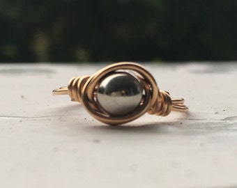 Gold and Silver Wire Wrapped Ring