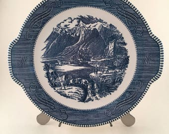 Currier and Ives Royal China The Rocky Mountains Dinnerware, Vintage Royal Currier & Ives Rocky Mountains Blue and White Handled Cake Plate