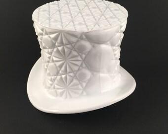 Vintage Fenton Top Hat White Milk Glass Daisy and Button Design Dish, Vintage Milk Glass Daisy and Button Top Hat Vase, Milk Glass Top Hat