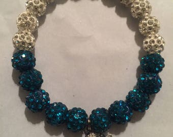 Blue/Crystal White Beads with Purse Charm