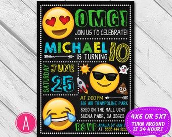Emoji Birthday Invitation, Emoji Invitation, Emoji invite, Emoji Party, Boy Girl Emoji Invitation, Emoji Birthday Invite, Emoji chalkboard
