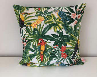 MAYOTTE, Palm, toucan, jungle pillow cover