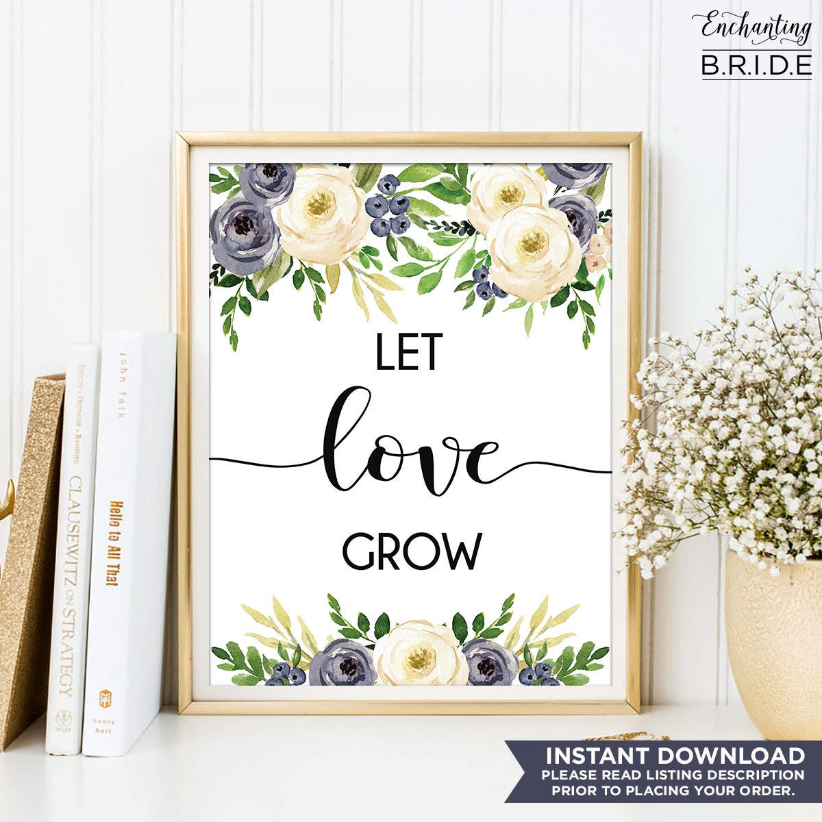 Let Love Grow, Wedding Favor Sign, Flower Bridal Shower Gift, Floral ...