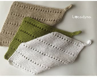 Dishcloths Washcloths-gift for all bathroom bath - shower Spa Onsen - knit cotton Polyester - white green Beige - Hand Made Scrubbies