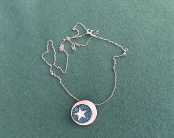 Vintage sterling silver pendant with crescent moon and star by Samara