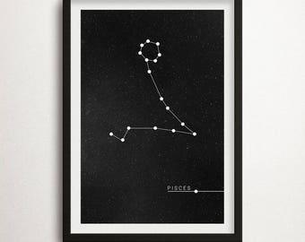 Pisces Print, Zodiac Poster, Constellation Pisces, Zodiac Print, Zodiac Sign, Pisces Zodiac Poster, Constellation Art ,Astrology, Wall Art