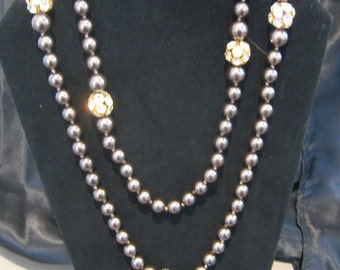 Brown faux pearls  and Crystal Necklace