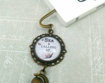 Mini brass bookmark earth globe, cabochon with boat in paper, gift idea for men