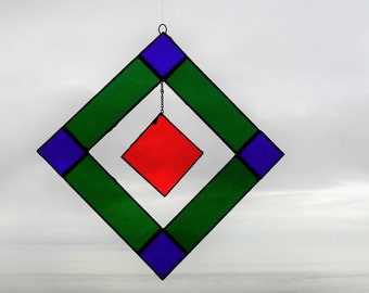 Stained glass red hanging square suncatcher