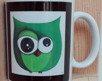 Green OWL printed mug